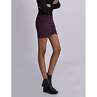 NEARKIN Womens Stretchy Waistband Shirring Fitted Mini Skirt at Women's Clothing store