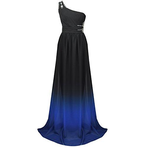 ACHICGIRL Women's One Shoulder Floor Length Prom Evening Chiffon Dress Multicolored