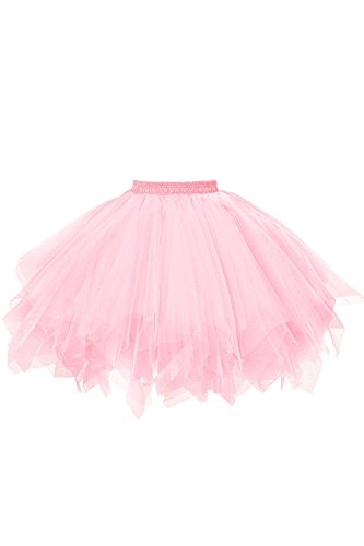 Musever 1950s Vintage Ballet Bubble Skirt Tulle Petticoat Puffy Tutu Pink Small/Medium (Doc Mcstuffins Adult Costume)