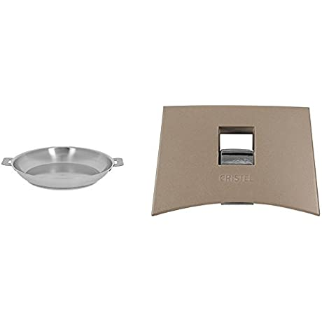 Cristel Strate P28QL Fryingpan 11 Silver With Cristel Mutine Spplmat Set Of Handles Taupe