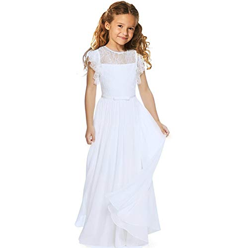 CQDY Flower Girl Floor Length First Communion Pageant Wedding Lace Chiffon Party Dress White