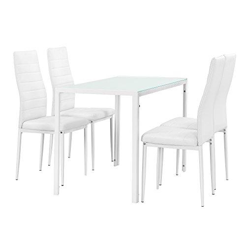 [en.casa] Juego de Comedor Moderno Mesa Blanca + 4 sillas Blancas Piel sintetica