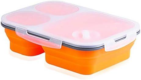 Bento Box, silicona plegable Meal Prep con 3 compartimentos caño ...