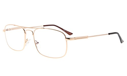 Eyekepper Blue Light Blocking Readers Memory Titanium Computer Reading Glasses Men Women, Transparent Lens (Gold,+0.75)