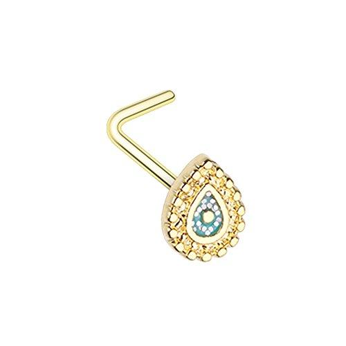 Golden Nose (Sparkling Ornate Teardrop L-Shape Nose Ring Inspiration Dezigns 20G (Golden))