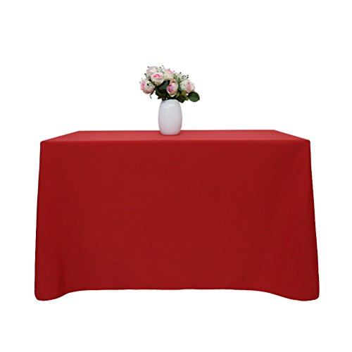 GFCC 90 x 132 -Inch Polyester Rectangular Tablecloth for 6 Parties, - Linen Red