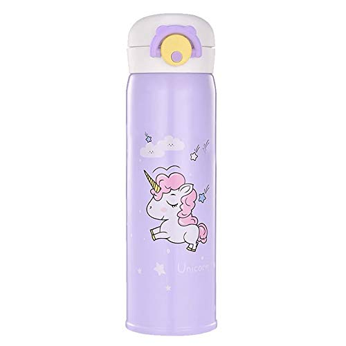 Unicorn Stainless Steel Thermos, Cute Water Bottle Cup for Indoor and Outdoor Occasion, Insulated Leak Proof Vacuum Cup Flask for Kids(17oz Purple)
