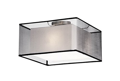 Nickel Black Shades (2 Light Semi-Flush Mount in Brushed Nickel with Black shade)