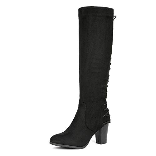DREAM PAIRS Women's MIDLACE Black Over The Knee High Boots Size 7.5 B(M) US (Cute Dresses To Wear With Thigh High Boots)