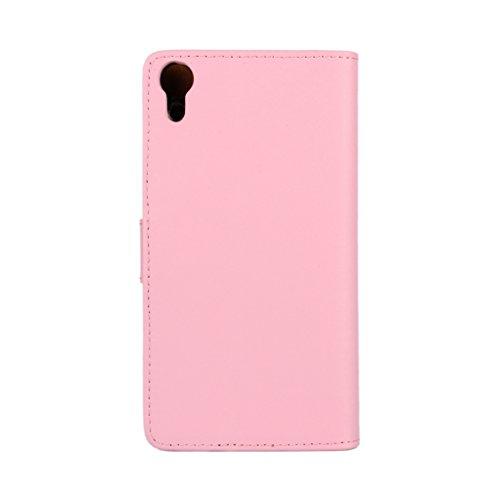 Trumpshop Smartphone Carcasa Funda Protección para Sony Xperia Z3 + (Plus) + Rojo + Ultra Delgada Cuero Genuino Caja Protector con Función de Soporte Ranuras para Tarjetas Crédito Choque Absorción Rosado