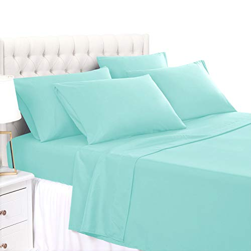 BASIC CHOICE 6 Piece Sheet Set - Luxury Soft 2000 Series Wrinkle & Fade Resistant Bedding Sheets Full, Aqua Sky
