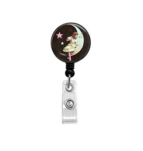Girl Sitting on Moon Badge Reel - Retractable ID Holder - Nurse Badge Reel - Moon Badge Reel - Vintage Moon Art -