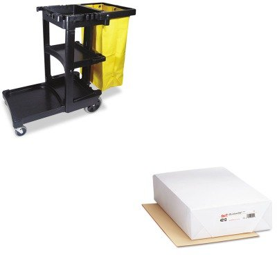KITPAC4212RCP617388BK - Value Kit - Pacon Cream Manila Drawing Paper (PAC4212) and Rubbermaid Cleaning Cart with Zippered Yellow Vinyl Bag, Black (RCP617388BK) by Pacon