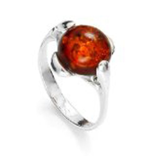 Sterling Silver Round Shaped Cognac Amber Ring, Size 6, 7, 8, (Shaped Cognac)