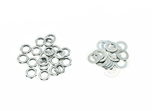 (KAISH 20pcs Zinc Metric M7 Guitar Pots Nuts and Washers for Mini 16mm Metric)
