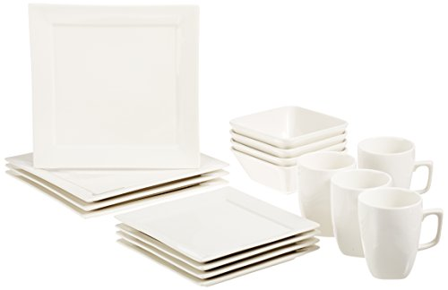 AmazonBasics 16-Piece Classic White Kitchen Dinnerware Set, Square Plates, Bowls, Service for 4 (Porcelain Plates Square)