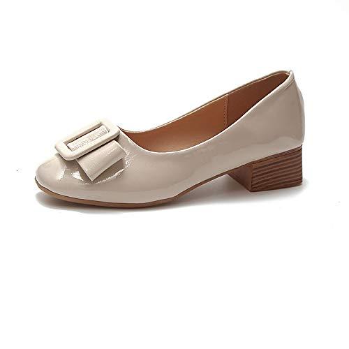 ZHZNVX Zapatos de Mujer PU (Poliuretano) Fall Basic Pump Heels Tacón bajo Punta Redonda Beige/Rojo / Rosa Beige