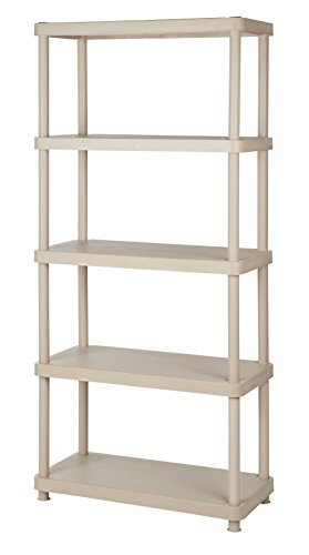 Keter 5-Shelf Heavy Duty Freestanding Plastic Shelving Unit Storage Rack, Sand (Assembly Plastic)