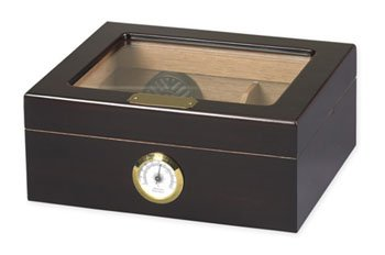 Desktop Humidor, Capri, with Tempered Glasstop, Cedar Divider, and Brass Ring Glass Hygrometer, Holds 25 to 50 Cigars, by Quality Importers (Capri Humidor)