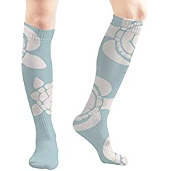 Sea Turtle Marine Animal Animals Wildlife Drawn Unisex Elastic Long Socks Compression Knee High Socks for Sports, Running, Travel 19.7 Inch
