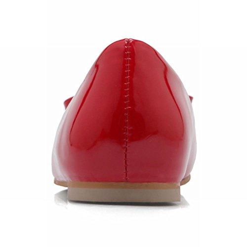 Latasa Womens Square Toe Slip On Ballet Flats Ballerina Shoes Red ZkZqowYQHQ