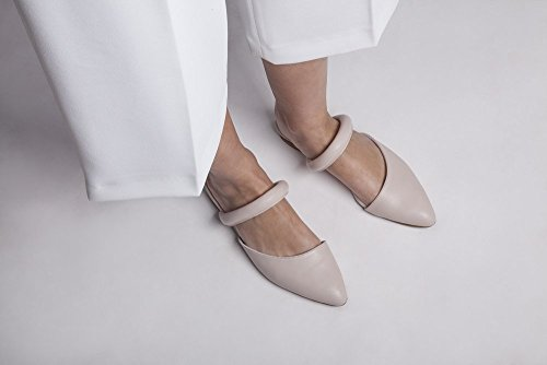 Extra Soft Italian Leather in Nude Color, Flat Mules Featuring Slip On Style, Women's Designer Handmade - Nude Women Quality