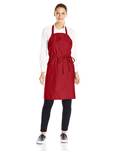 Uncommon Threads Unisex Bib Apron 3 Pockets, Red, One Size - Red 3 Pocket Bib Apron