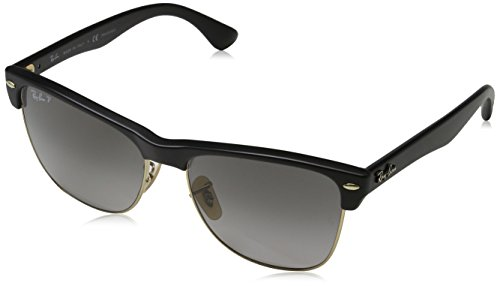 Ray-Ban Mens Clubmaster Oversized Polarized Square Sunglasses, Demi Gloss Black, 57 mm