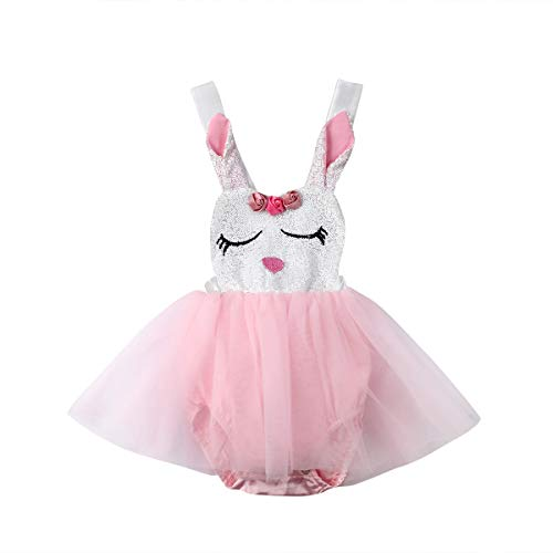 Newborn Infant Baby Girls Bunny Easter Bodysuit Halter Sleeveless Romper Tutu Dress Summer Clothes 0-24M (0-6M, Pink)