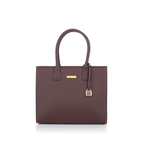 Leather French Classic Handbag (JOY & IMAN Genuine Leather Hollywood Glamour Handbag Tote - Espresso Brown)