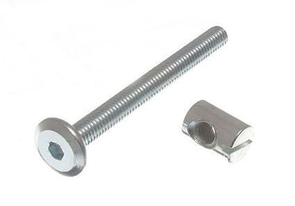 ONESTOPDIY COM AL Furniture COT Bed Bolt Allen Head with Barrel NUT 6MM M6  X 60MM ZP (Pack of 10), Silver
