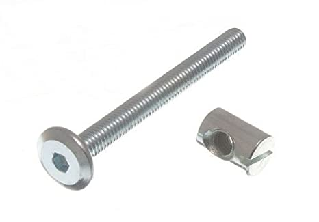 FURNITURE COT BED BOLT ALLEN HEAD WITH BARREL NUT 6MM M6 X 60MM ZP (pack of 4 ) onestopdiy.com