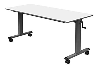 "Luxor 60"" Adjustable Sit/Stand Desk Flip Top Laptop Workstation Table with Crank Handle"