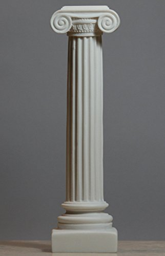 [Greek Ionic order Column Pillar Pedestal Statue Alabaster Sculpture Decor 9.06''] (Ionic Column)