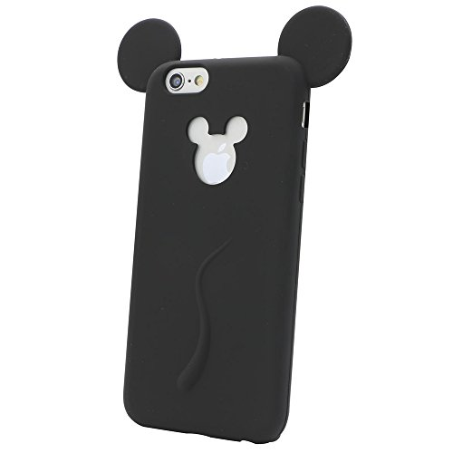 IBTS3D Soft Mickey Mouse Ear Silicone Cartoon Phone Case Cover for iphone 6 6S 4.7Inch (black)