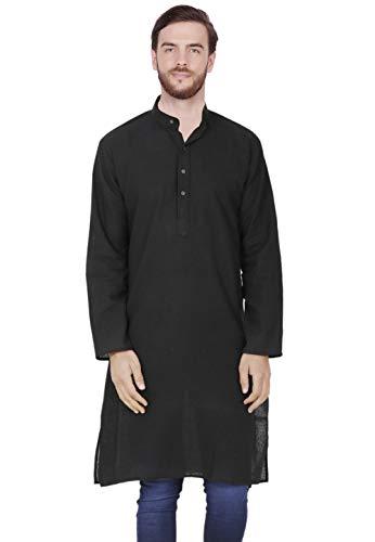 SKAVIJ Men's Tunic Cotton Long Kurta Casual Shirt Modern Fit (Medium, Black)