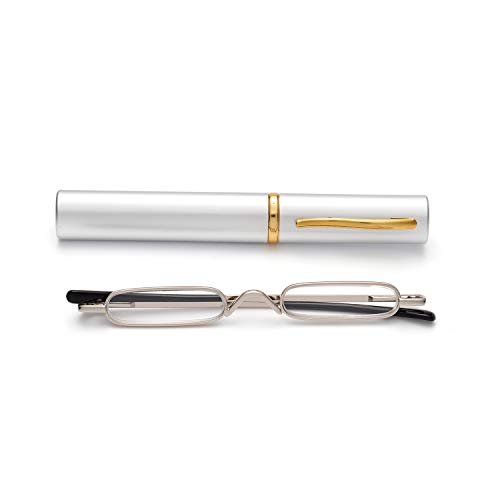 (Easy Carry Mini Compact Slim Reading Glasses-Lightweight Portable Readers with w/Pen Clip Tube Case (Silver, 2.50))