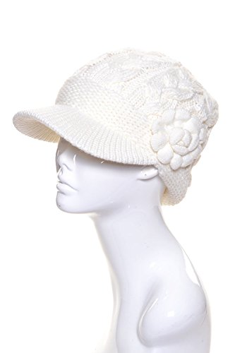 AN Womens Winter Visor Cap Beanie Hat Wool Blend Lined Crochet Decoration (One Size, Ivory Flower)