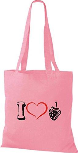 Shirtstown Bolso de tela Frutas I love Fresa Rosa