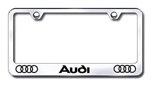 New Stainless Steel Audi License Plate Frame Chrome Laser Marking W/Bolt Caps