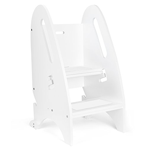 Acko Wooden Step Stool with Non- Slip Great for Both Toddlers & Adults–Perfect Height for Nursery, Kitchen or Bathroom.Holds Up To 264LBS (White - Partner Ladder