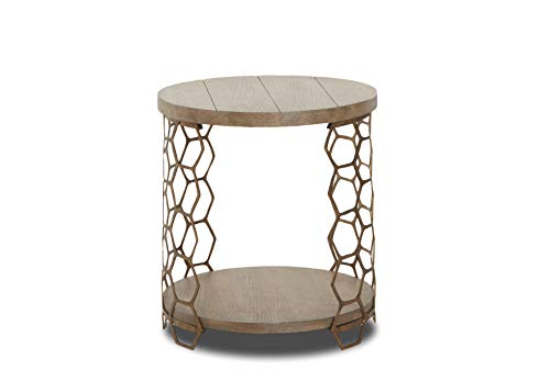 Sunset Trading WP-5011-808 Bee Inspired Round End Table, Brown, Gold
