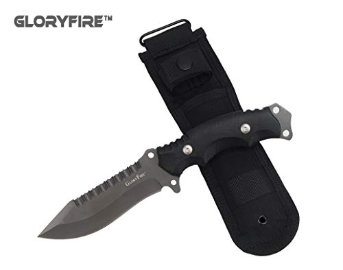 GLORYFIRE Tactical Hunting Knife Fixed Blade Serrated Edge AUS-8 Stainless Steel Blade Outdoor Survival Emergency Kit Full Tang Titanized Anti-Rust Processed Arc Hand Protected with Nylon Sheath For Sale
