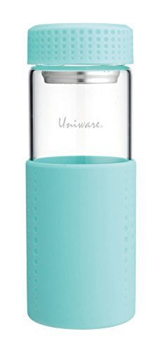 Uniware Super Quality Borosilicate Glass Water Bottle with Stainless Steel Tea Filer, 450ml/15oz (Turquoise)