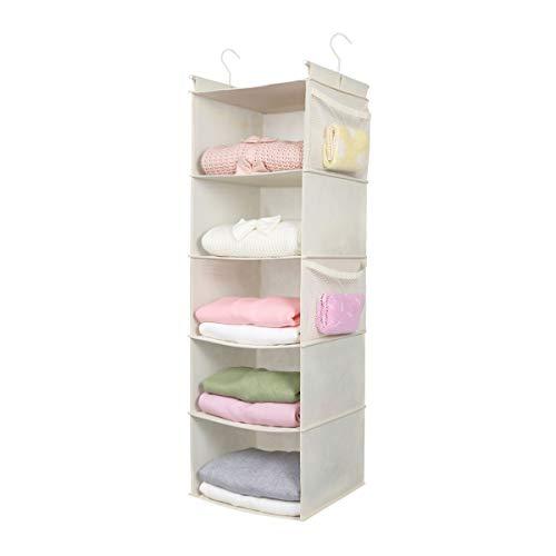 MAX Houser 5 Shelf Hanging Closet Organizer,Space Saver, Cloth Hanging Shelves with (4) Side Pockets,Foldable, (Beige)