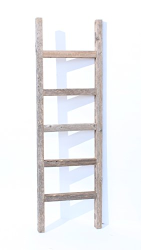 BarnwoodUSA Rustic 4 ft Decorative Ladder - 100% Reclaimed Wood Ladder, Weathered Gray ♻️