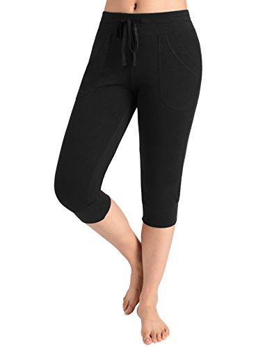 Weintee Women's Capri Joggers Jersey Sweatpants (Large, (Cropped Womens Sweatpants)