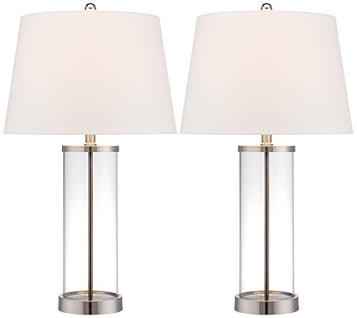 Glass and Steel Cylinder Fillable Table Lamp Set of (Brushed Steel Glass Table Lamp)