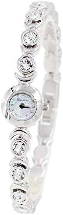 女性のクリスタルアクセント高級シルバートーンバングル時計ジュエリーブレスレット腕時計 (Color : Silver)