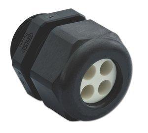 4 x 0.16'' holes Range 1/2'' NPT Black Nylon Liquid Tight/Multi-Hole Cable Strain Relief Fitting by Sealcon